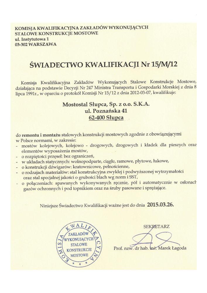 Świadectwo Kwalifikacji Nr 15/M/12