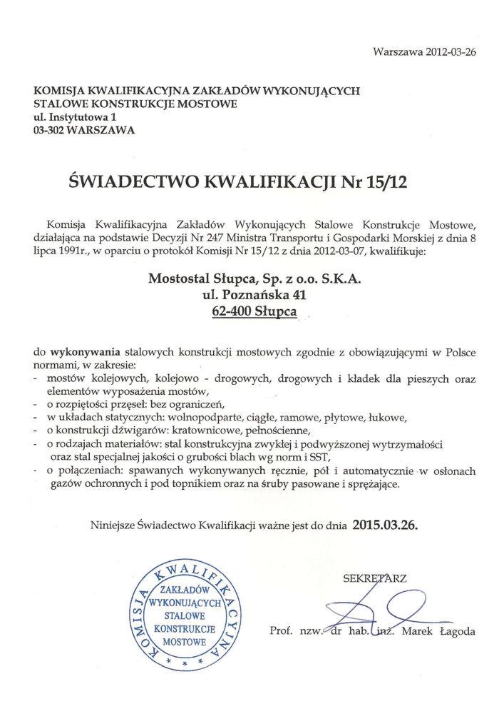 Świadectwo Kwalifikacji Nr 15/12