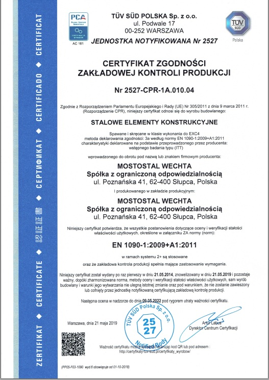 Certyfikat Zgodności Zakładowej Kontroli Jakości